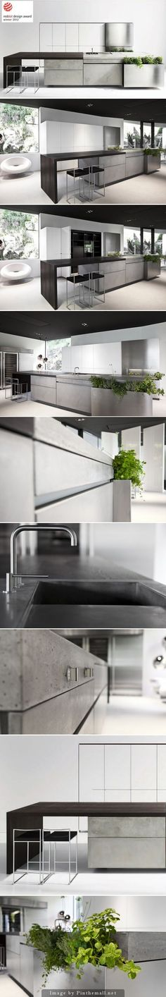 A beautiful concrete kitchen design that received the Red Dot Design Award. - if it's hip, it's here