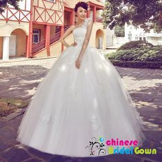 Style 2077, Striking Organza Ball Gown Strapless Chinese Wedding Dress by CBG.