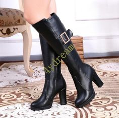 b78108e27b0 Womens Block High Heel Knee High Boots Leather Winter Fashion Hot Platform  Shoes in Clothing
