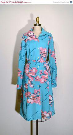 Vintage 1960s Dress - Sky Blue Pink Floral Print