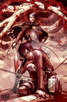 Attack on Titan ~~ Eren and Levi :: [ Attack on Titan by CosmicSpectrumm.deviantart.com on @deviantART ]