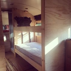 Bunk beds in converted bus