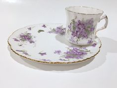 Hammersley Violet Bone China Snack Tray,  English Bone China Tea Cup and Saucer, Tea and Toast, Tea Set, Antique Tea Cups, Vintage Snack Set by AprilsLuxuries on Etsy