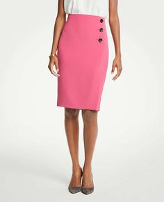 Shop Ann Taylor for effortless style and everyday elegance. Our Doubleweave Side Button Pencil Skirt is the perfect piece to add to your closet. New Wardrobe, Skirt Fashion, Ann Taylor, High Waisted Skirt, Buttons, Elegant, Skirts, Pencil, Clothes