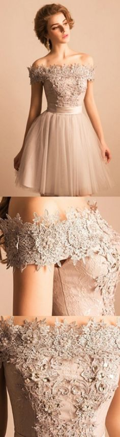 Off-the-Shoulder Prom Dresses, Ivory Homecoming Dresses, Ivory Off-the-Shoulder Prom Dresses, Off-the-Shoulder Prom Dresses, 2018 Off-the-shoulder Lace Tulle Short Beaded Graduation Party Dress