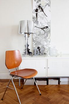 Contemporary Living Room feat Bourgie Lamp by Kartell