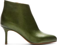 """Leather ankle boots in olive. Pointed toe. Zip closure at inner side. Leather sole. Tonal stitching. Approx. 3"""" heel."""