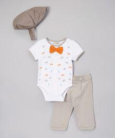 Take a look at this White & Orange Bow Bodysuit Set - Infant today!