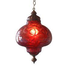 Vintage Red Pendant Lamp   eBay