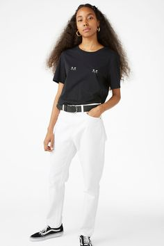 Cotton tee - Two cats / Black - Tops - Monki FR