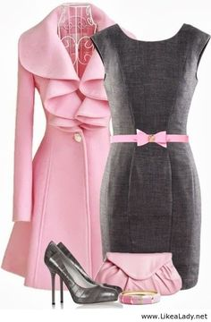 Pink and grey outfit- love the coat