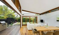 Designed by All Australian Architecture, the Ranu House in Manly, Sydney is a 185 extension to a two-story bungalow. The renovation ripped and gutted the interior and exterior walls creating a more engaging relationship with the landscape. Bungalow Extensions, House Extensions, Australian Architecture, Interior Architecture, Roof Design, House Roof, Home Renovation, Building A House, House Plans