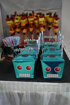 Robot party favor boxes from take out boxes