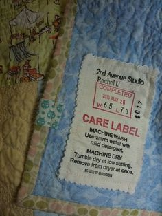 Great idea for creating a fabric quilt label!