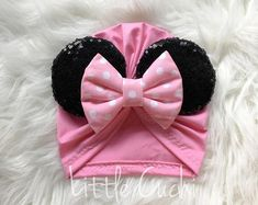 ideas for diy baby turban no sew how to make Baby Sewing Projects, Sewing For Kids, Baby Doll Accessories, Hair Accessories, Pink Minnie, Baby Turban, Fancy Hats, Making Hair Bows, Ear Headbands