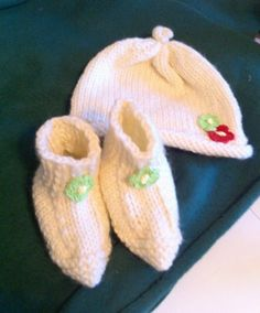 Infant Crochet Hat & Booties W/Red and Green Flower Applique's-Christmas Gift