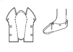"""Anglo-Scandinavian Staeppescoh or Slipper  """"Type 1""""  (10th-11th Centuries) The typology is based on that used by Carlisle, although any errors in the interpretation here are likely to be mine. This one-piece-shoe from Jorvik generally resembles to the Lembecksburg Fohr Slipper.    This is a turnshoe. There is no upper binding stitch, except perhaps at the instep.    Sewing is most generally done with a 1 mm, or so, """"thread"""" of leather lacing."""