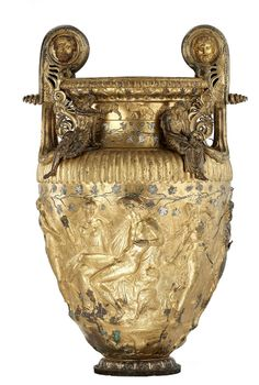 Ancient metal work,The Derveni krater. Bronze.  Greece 320 B.C.  note spiraled points at top