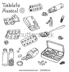 Hand drawn medicine doodle icons set. Medical and healthcare sketches collection. vector Illustration pills, drugs, syringe; thermometer; temperature; inhaler;