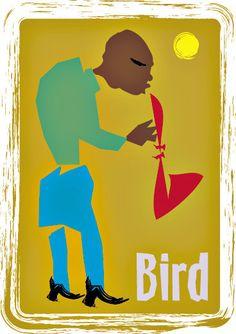 CHARLIE PARKER Negro Blues Art, African American Jazz Art, Saxaphone Art