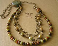 Autumn Colors Beaded Necklace with Czech Glass by BanteringBird, $47.00