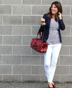 Navy blazer + stripes + red accessories...  maternity / pregnancy style     http://marionberrystyle.blogspot.com