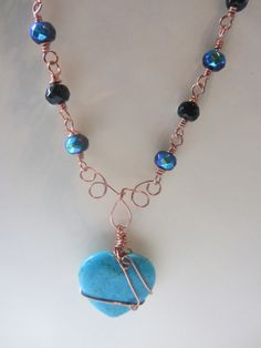 Cute alert! Heart Shaped Turquoise Wire Wrapped Iridescent Blue Bead Necklace by @Adana Hagel Hagel Hagel Collins