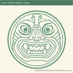 한국의 도깨비 문양 패턴디자인. 한국 전통문양 패턴 디자인 시리즈. (BPTD010021) Korea Goblin Pattern Design. Korean traditional Design Series. Copyrightⓒ2000-2014 Boians.com designed by Cho Joo Young.
