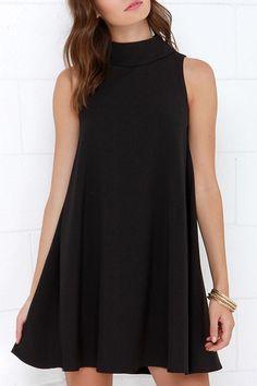 Black Stand Neck Sleeveless A Line Dress