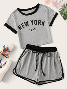 Letter Print Contrast Binding Tee With Track Shorts Source by ohirthestanton tween outfits for summer Cute Lazy Outfits, Cute Swag Outfits, Teenage Girl Outfits, Sporty Outfits, Outfits For Teens, Trendy Outfits, Matching Outfits, Summer Outfits, Girls Fashion Clothes