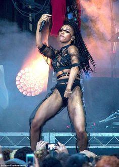 On display: FKA twigs performs at the Laneways Festival in Sydney wearing aCreepyyeha lea...