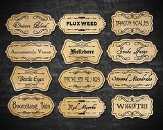 A good potion master must label their ingredients. These are great for any magical themed party (or everyday use for the organized witch or wizard) and PERFECT for Halloween Decorations! You will receive one 8.5 x 11 digital PDFs of 24 labels (each label is approximately 1 tall x 2 wide) for the following ingredients: - Nightshade Essence - Porcupine Quills - Bezoars - Bat Spleens - Moonstones - Runespoor Fangs - Dragon Liver - Sopophorous Beans - Wartcap Powder - Mandrake Root - Essence…