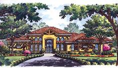 This 1 story Contemporary House Plan features sq feet and 3 garages. Wooden Garden Gazebo, Garden Tub, Spanish House, Spanish Style, Modern Mediterranean Homes, Contemporary House Plans, Garden In The Woods, Story House, House Layouts