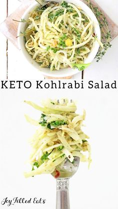 Kohlrabi Salad with Homemade Italian Dressing - Low Carb, Keto, Gluten-Free, Grain-Free, THM S - Koh Low Carb Side Dishes, Side Dish Recipes, Veggie Recipes, Diet Recipes, Healthy Recipes, Recipies, Best Diet Foods, Diet Food List, Salad Recipes For Dinner