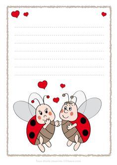 exemple papier à lettre st-valentin imprimer Saint Valentine, Valentines, Arabic Alphabet For Kids, Diy And Crafts, Crafts For Kids, Baby Ladybug, School Frame, Borders And Frames, Stationery Paper