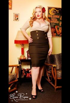 Military Secretary Dress in Tan and Green by Pinup Couture - Plus Size