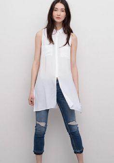 Camicia trasparente lunga bianca