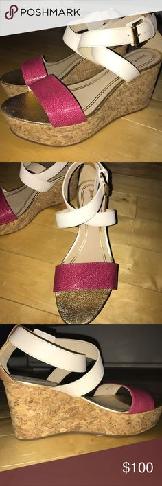 """Juicy Couture Forrest Cork Wedge sandals NWB 8.5 Made in Italy 🇮🇹...lovely open toe Juicy cork wedge sandal...Adjustable crisscross leather ankle strap with large buckle, heel-3.5 inches; gold flecked cork wedge heel, 1.5"""" platform, padded leather insole. Sold out at Neiman Marcus! Juicy Couture Shoes Wedges"""