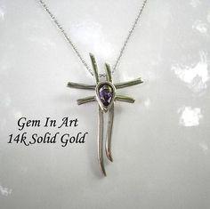 White Gold CrossAmethyst gold crosssolid gold crosskatana Art Designs, White Gold, Gems, Unique Jewelry, Handmade Gifts, Pendant, Art Projects, Kid Craft Gifts, Rhinestones