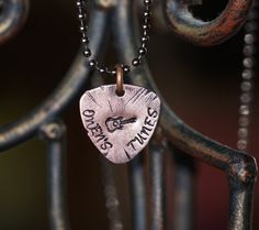 Personalized guitar pick necklace by OutRayJessMetal on Etsy
