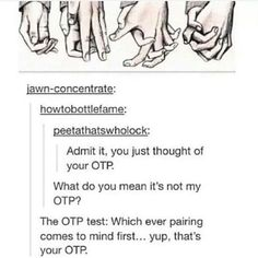 Apparently my OTP is is Destiel<<<mine is Destiel<<<Destiel. But that's not even my OTP.<<<<<<<mine is Jason Grace and Piper Mclean<<Destiel>>>JadeDave. There's so much Destiel!<< ==> I thought of JohnDave and EriSol. I have problems« Destiel Johnlock, Destiel, Solangelo, Percabeth, Drarry, Dramione, Fandoms Unite, What Do You Mean, One Does Not Simply
