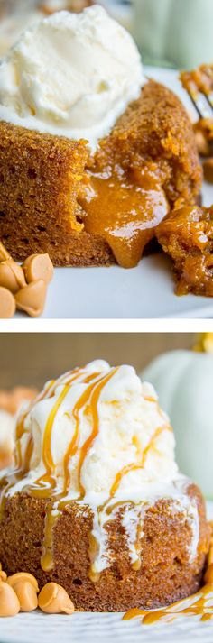 Pumpkin Butterscotch Molten Lava Cakes - soft, tender, and guaranteed to spill delicious cake lava alll over your plate.