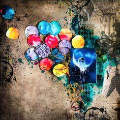Challenge - scrapki-wyzwaniowo: May 2018 - Guest Designer - Natalia Gogina Challenge, Mixed Media Scrapbooking, Wall Of Fame, Medium Art, Mixed Media Art, Ukraine, Designer, Layout, Sky