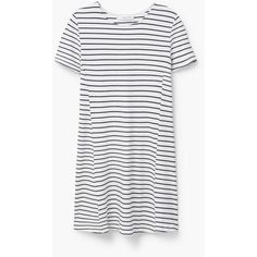 Flowy Striped Dress ($50) ❤ liked on Polyvore featuring dresses, short-sleeve dresses, striped full skirt, mango dresses, full skirt and short sleeved striped dress