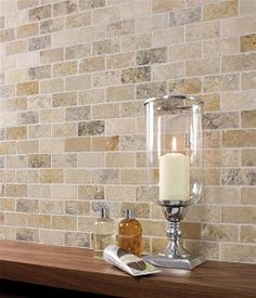 Backsplash ... travertine bricks
