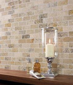 Backsplash ... travertine bricks