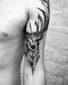 Lion Forearm Tattoos, Leg Tattoos, Small Tattoos, Sleeve Tattoos, Tatoos, Side Leg Tattoo, Shoulder Tattoo, Cervo Tattoo, Hirsch Illustration