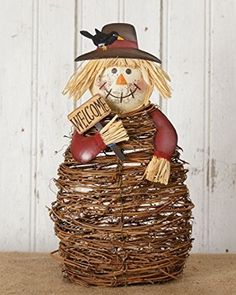 New Rustic Country Grapevine Fall TWIG SCARECROW WELCOME Figurine Shelf Sitter
