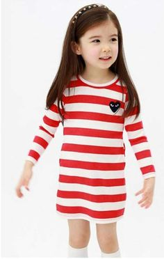 Aliexpress.com : Buy Children Clothes New Fashion Girls Spring Autumn Dresses Cotton Striped Mini Casual Dress Red, Black, Free Shipping MY020 from Reliable Children Clothes suppliers on Missing You