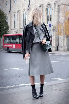 Barbour pullover // Zara skirt (similar here) // Zara ankle boots (similar here) // Pauw jacket (similar here) // Proenza Schouler bag. Zara Ankle Boots, Style Snaps, Mode Inspiration, Fashion Inspiration, Street Chic, Street Fashion, Skirt Fashion, Street Style Women, Her Style
